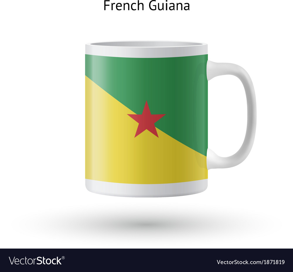 French guiana flag souvenir mug on white vector | Price: 1 Credit (USD $1)