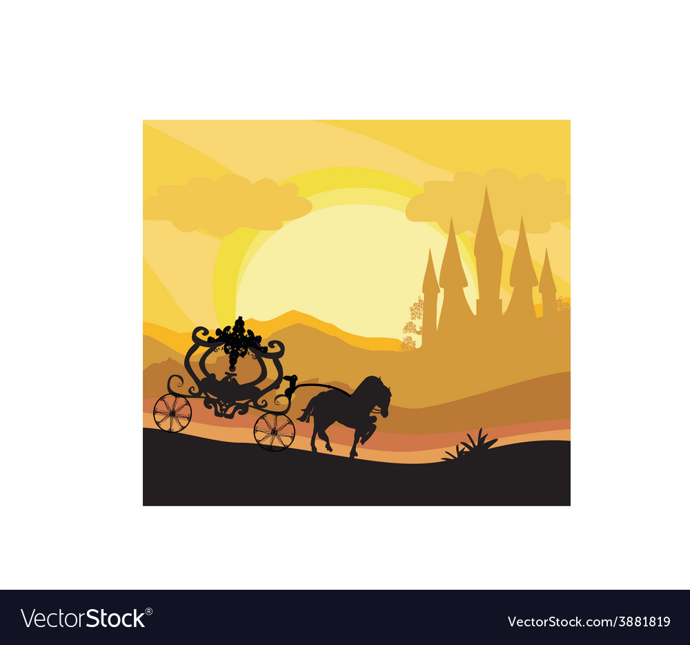 Horse carriage and a medieval castle vector | Price: 1 Credit (USD $1)