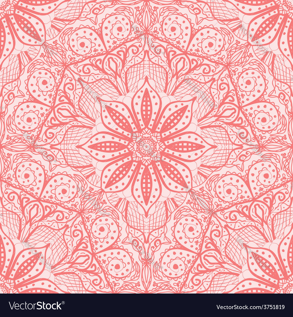Pink seamless pattern of round lacy napkins vector | Price: 1 Credit (USD $1)