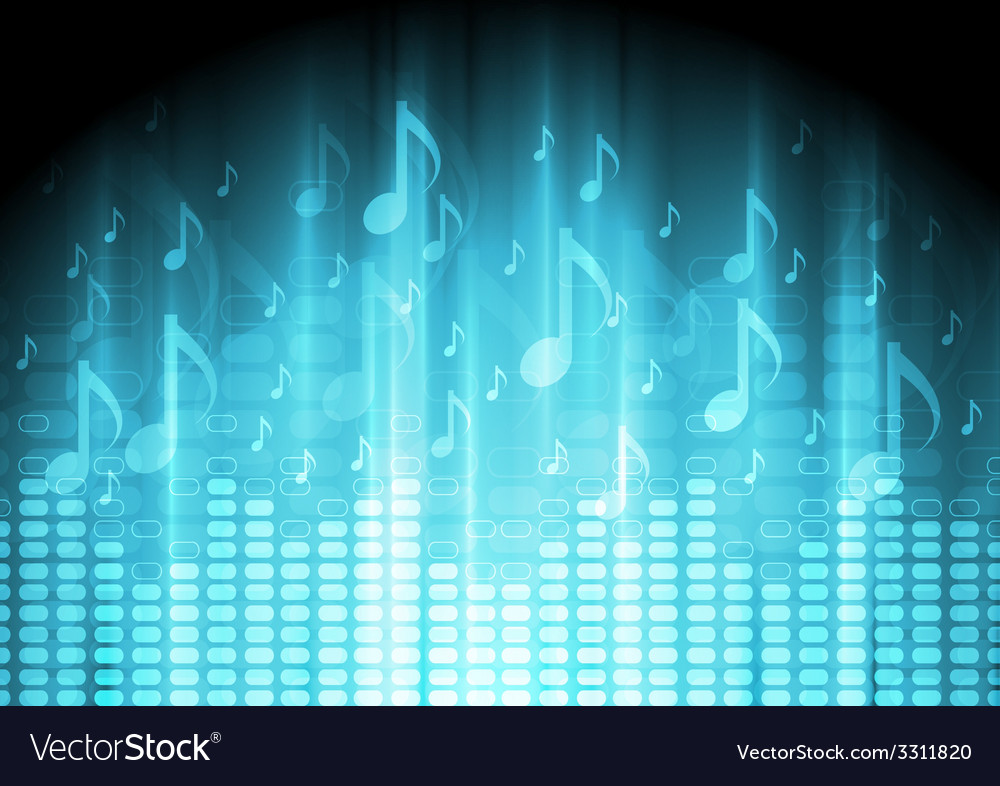 Blue music background with equalizer and notes vector | Price: 1 Credit (USD $1)