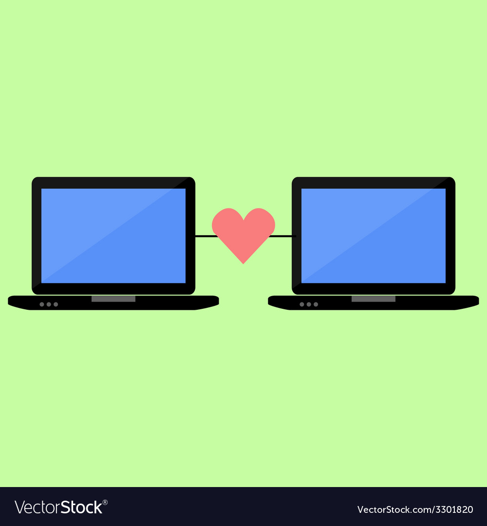 Flat style online love vector | Price: 1 Credit (USD $1)