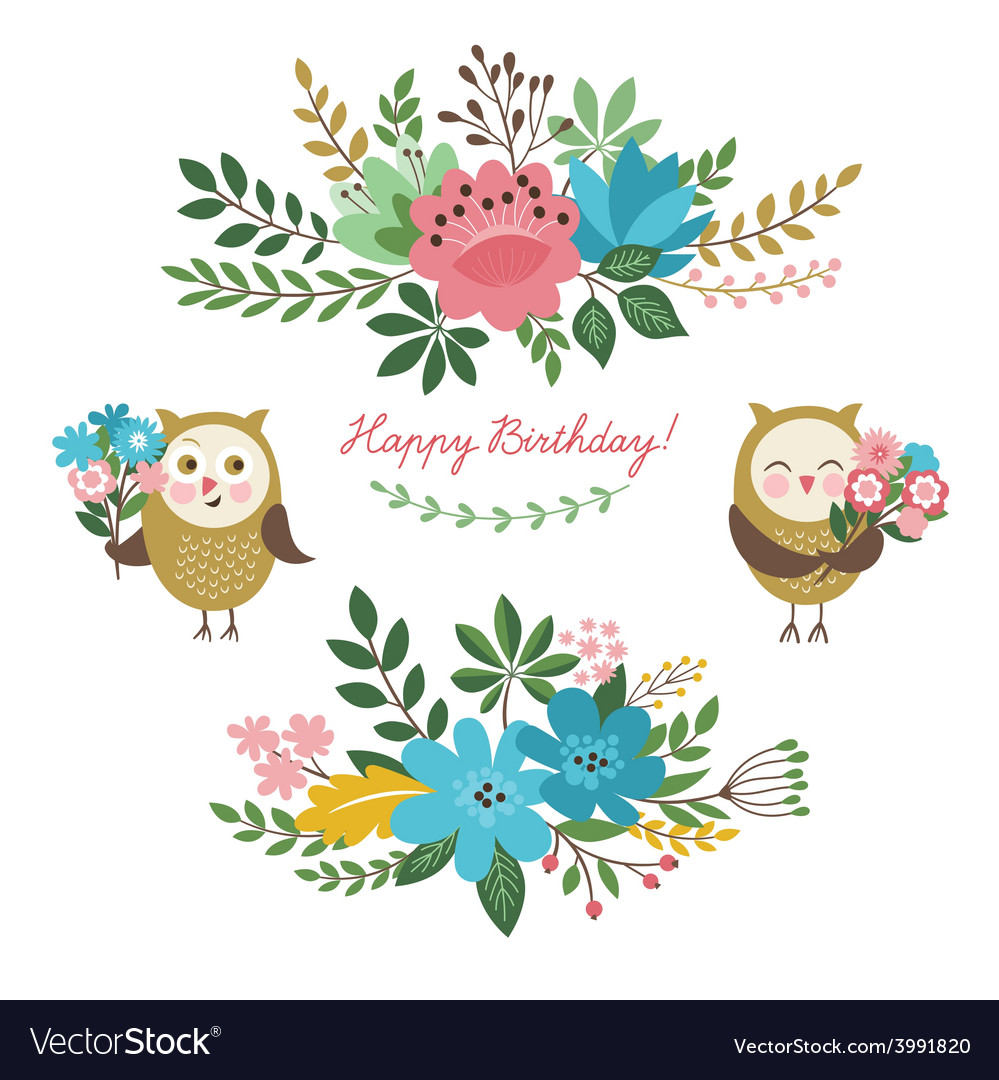 Floral design elements and cute owls vector | Price: 1 Credit (USD $1)