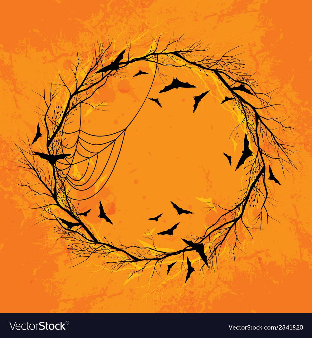 Halloween wreath orange background vector   Price: 1 Credit (USD $1)