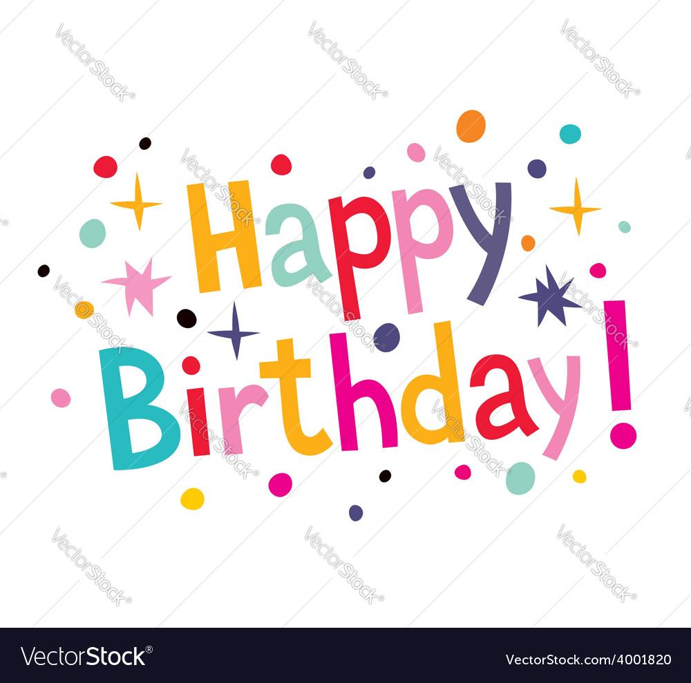 Happy birthday cartoon text 2 vector | Price: 1 Credit (USD $1)