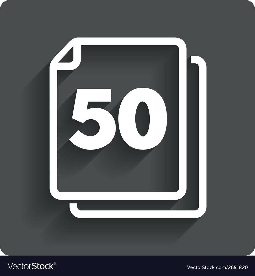 In pack 50 sheets sign icon 50 papers symbol vector | Price: 1 Credit (USD $1)