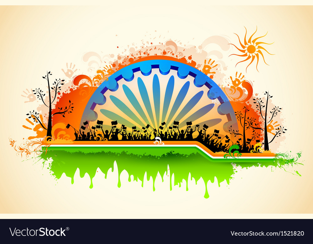 Indian citizen waving flag on tricolor flag vector | Price: 1 Credit (USD $1)