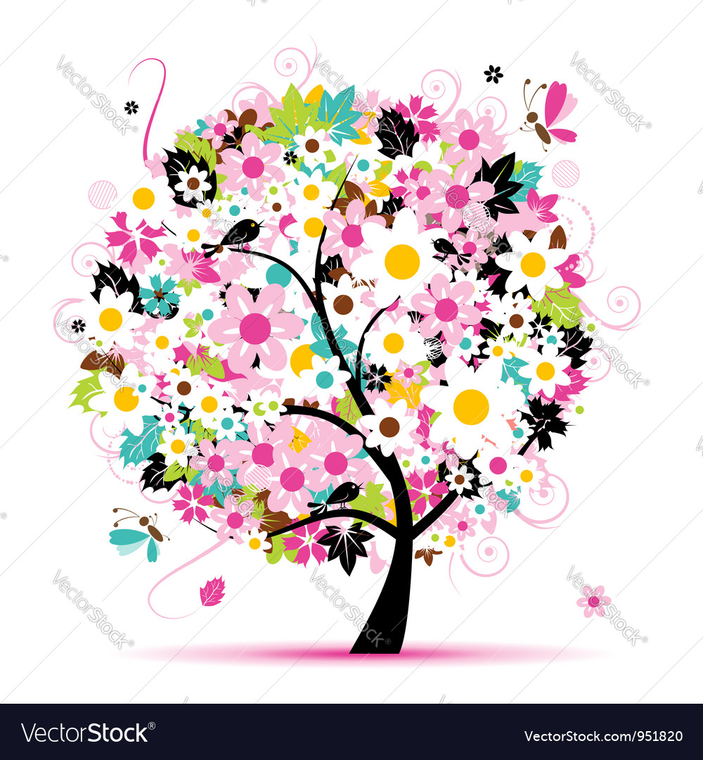 Summer floral tree for your design vector | Price: 1 Credit (USD $1)
