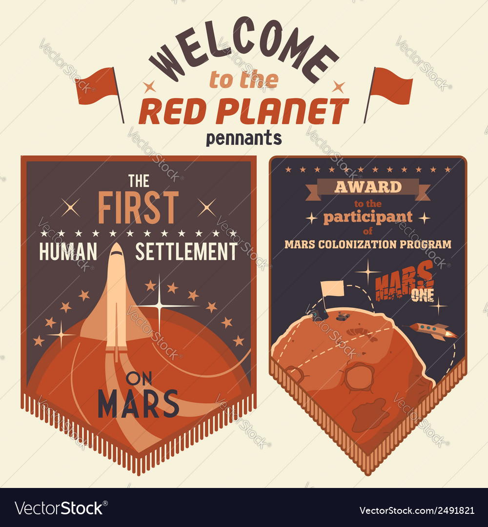 Award pennants for mars colonization program vector | Price: 1 Credit (USD $1)