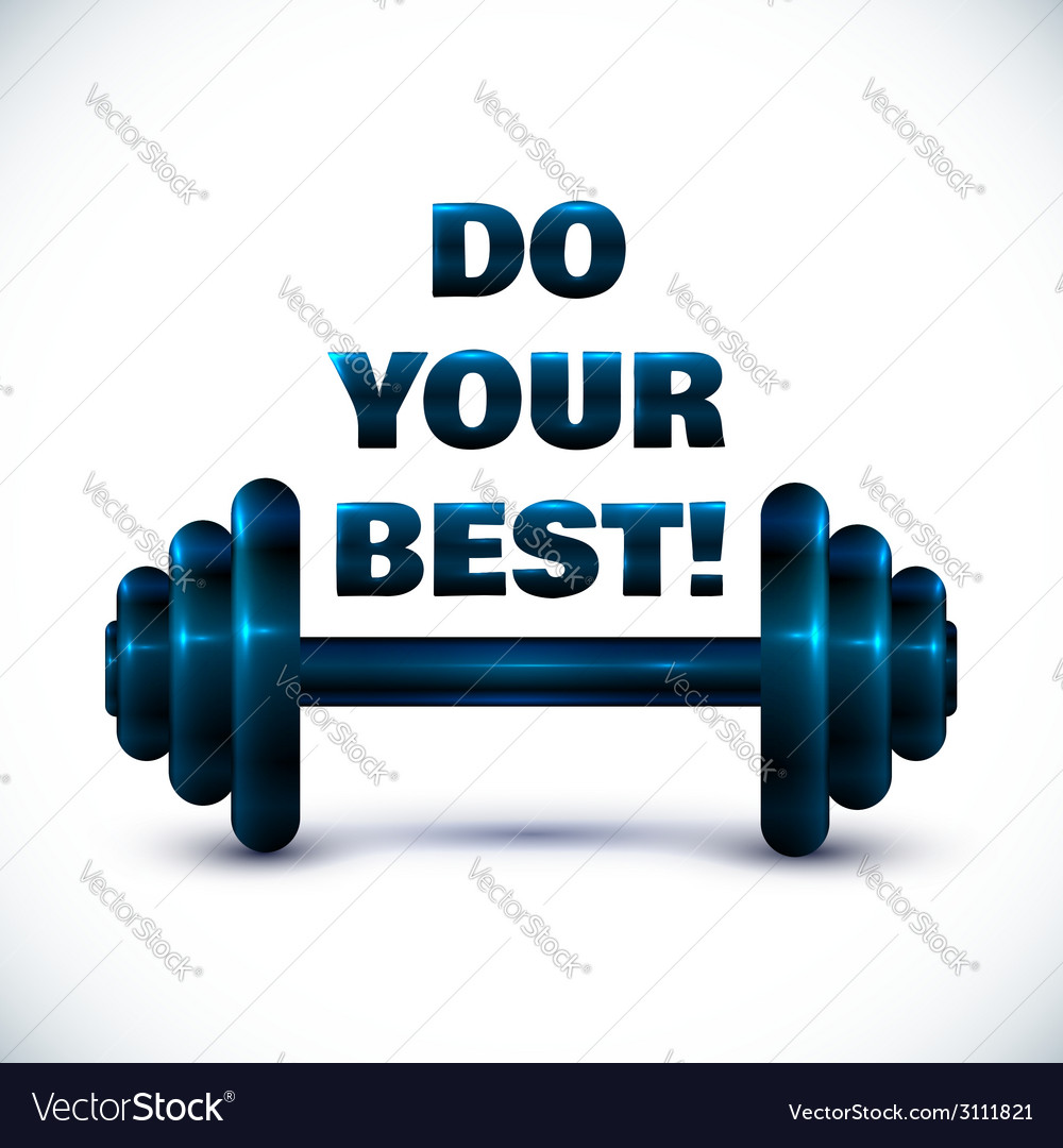 Blue dumbbell on white background with sign do vector | Price: 1 Credit (USD $1)