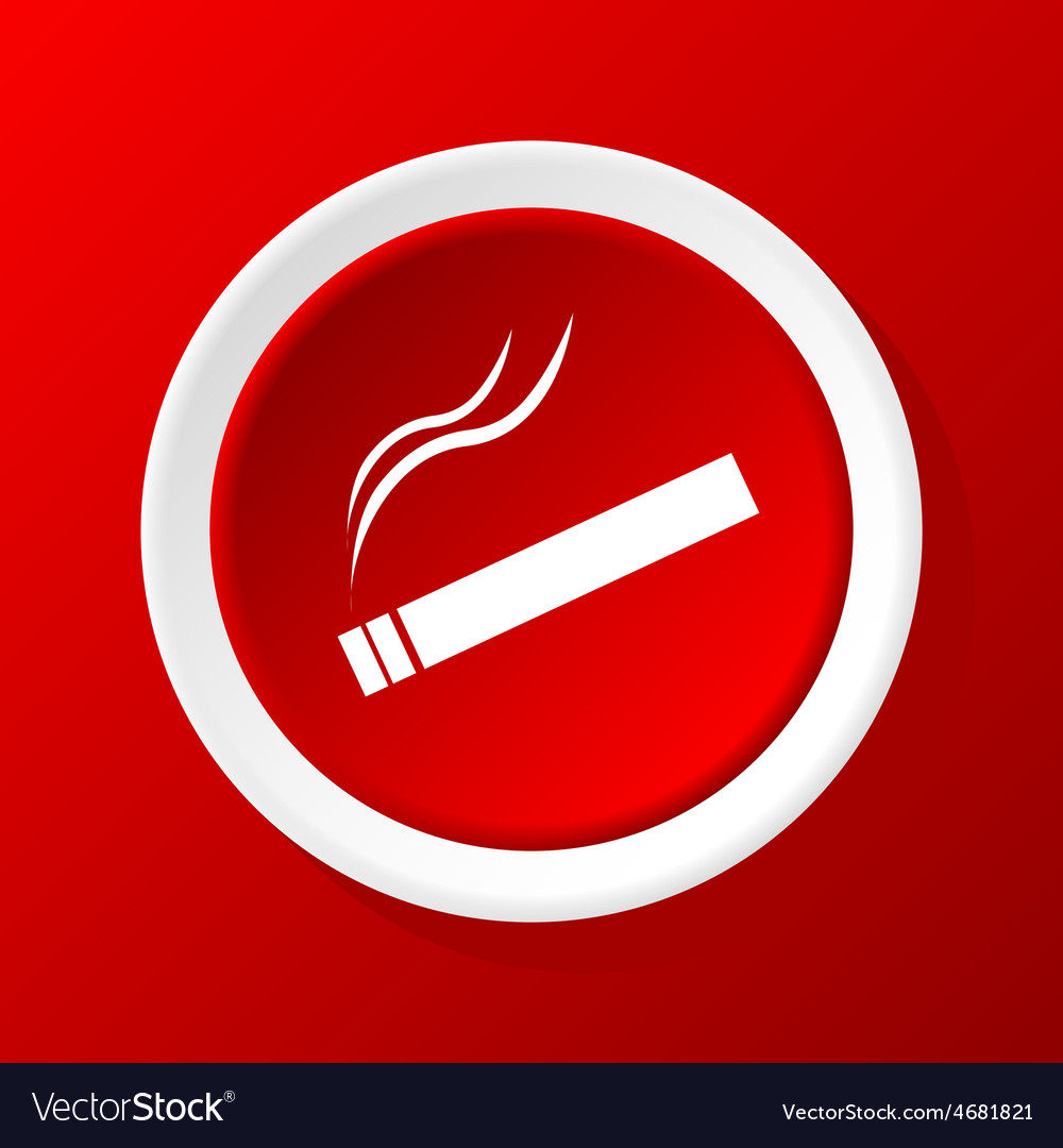 Burning cigarette icon on red vector | Price: 1 Credit (USD $1)