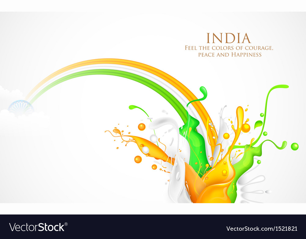 Colorful splash of india tricolor vector | Price: 1 Credit (USD $1)