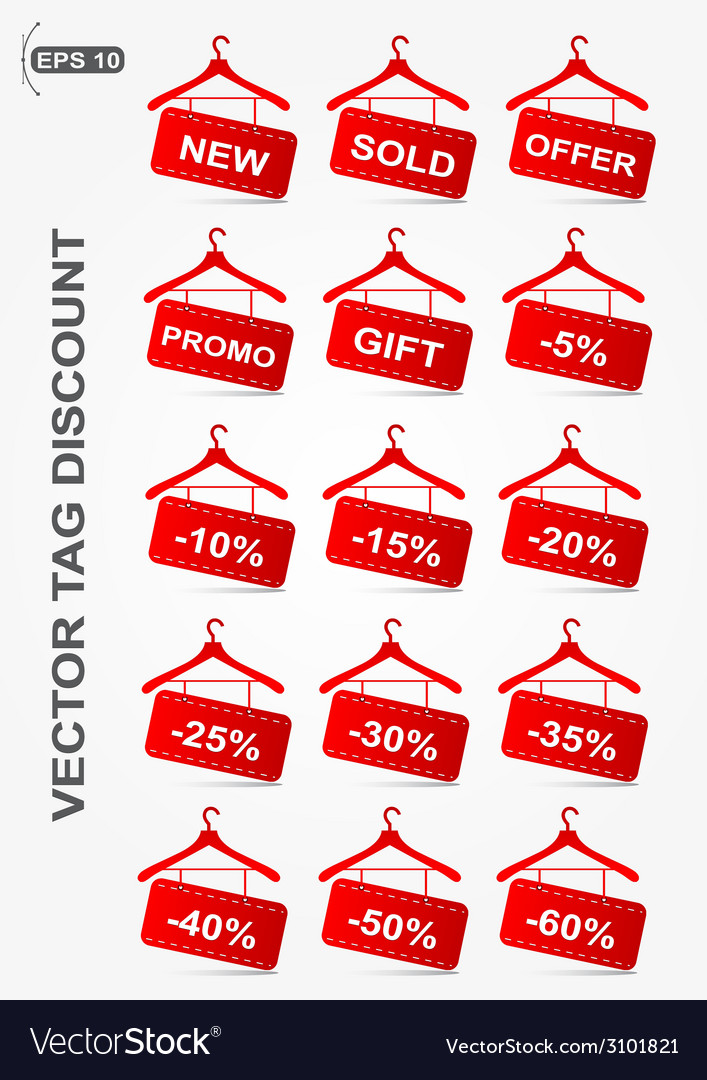 Discount icons hanger shape vector | Price: 1 Credit (USD $1)
