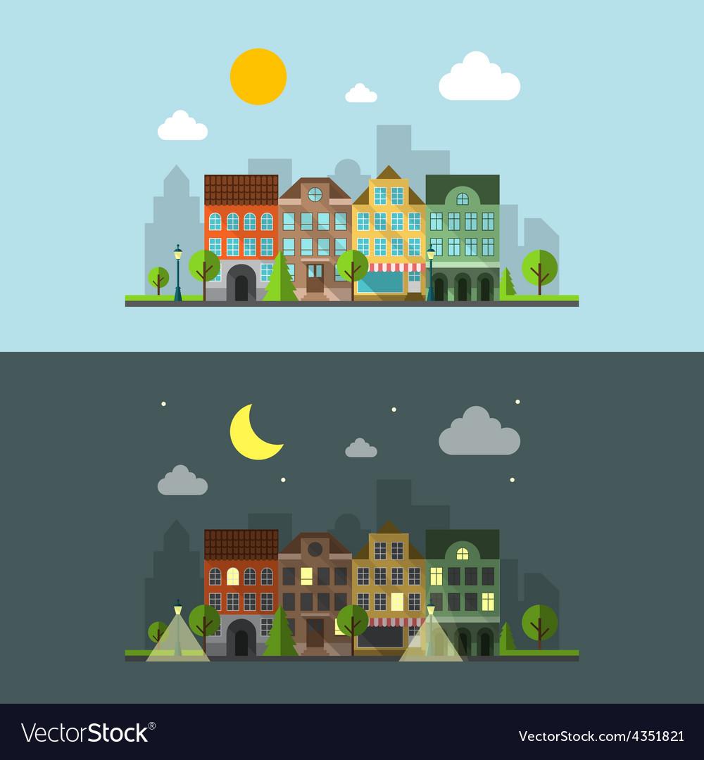 Flat design urban landscape vector | Price: 1 Credit (USD $1)