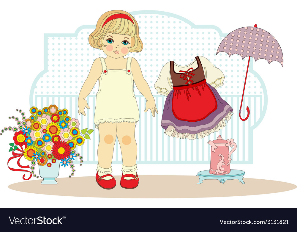 Girl doll with clothes vector | Price: 1 Credit (USD $1)