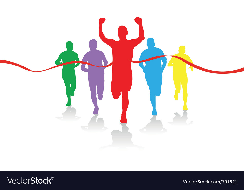 Group of runners vector