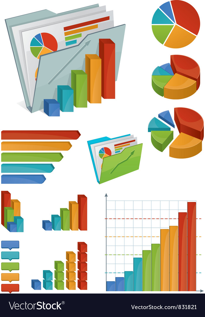 Icons and chart elements vector | Price: 3 Credit (USD $3)