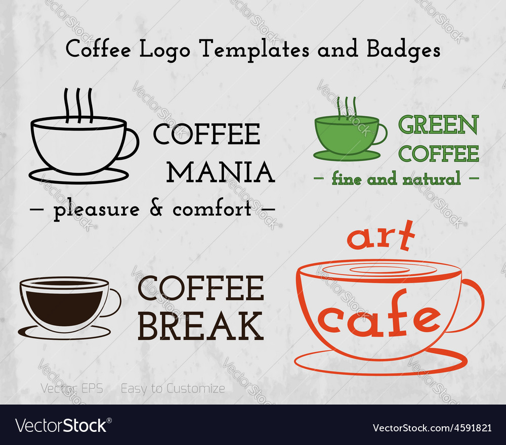 Set of coffee cafe icons logo and business cards vector | Price: 1 Credit (USD $1)