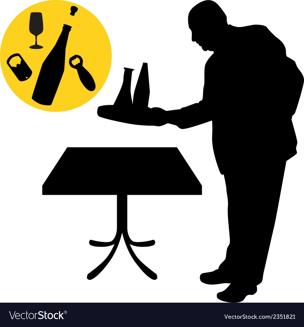 Waiter silhouette vector | Price: 1 Credit (USD $1)