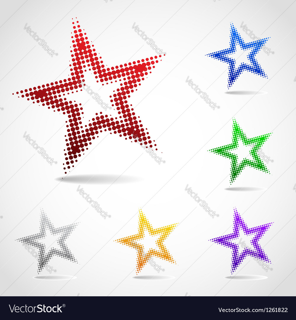A rotated star icon made of halftone dots vector | Price: 1 Credit (USD $1)