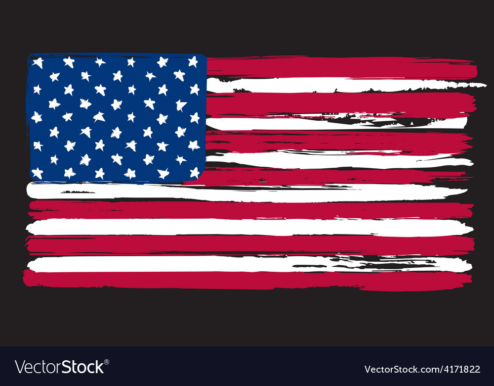 American flag in painting brush style vector | Price: 1 Credit (USD $1)