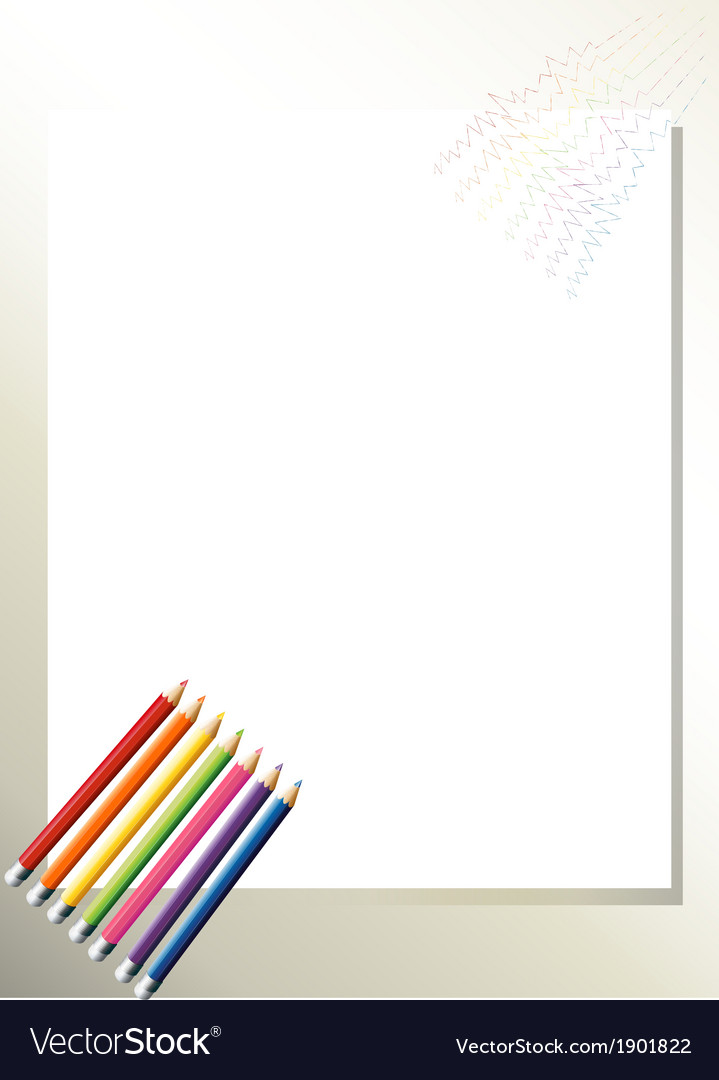 An empty template with colorful pencils at the vector | Price: 3 Credit (USD $3)