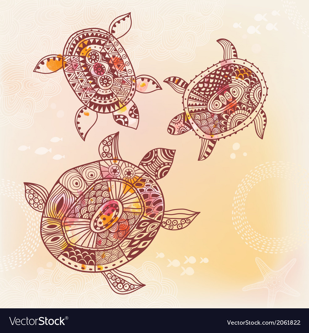 Background with turtle vector | Price: 1 Credit (USD $1)