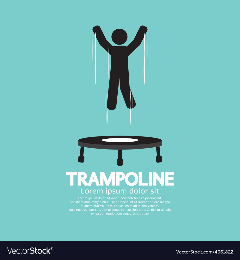 Black symbol of a person jumping on trampoline vector | Price: 1 Credit (USD $1)