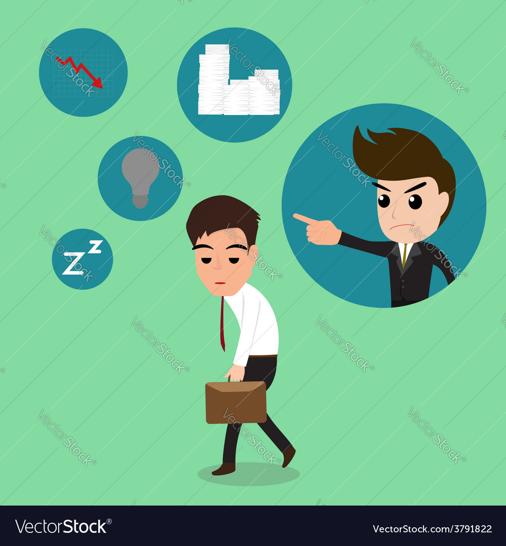 Business man so tired after work hard vector | Price: 1 Credit (USD $1)