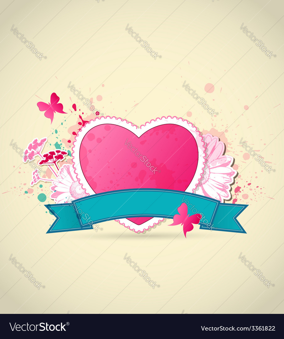 Decorative background with pink heart vector | Price: 1 Credit (USD $1)