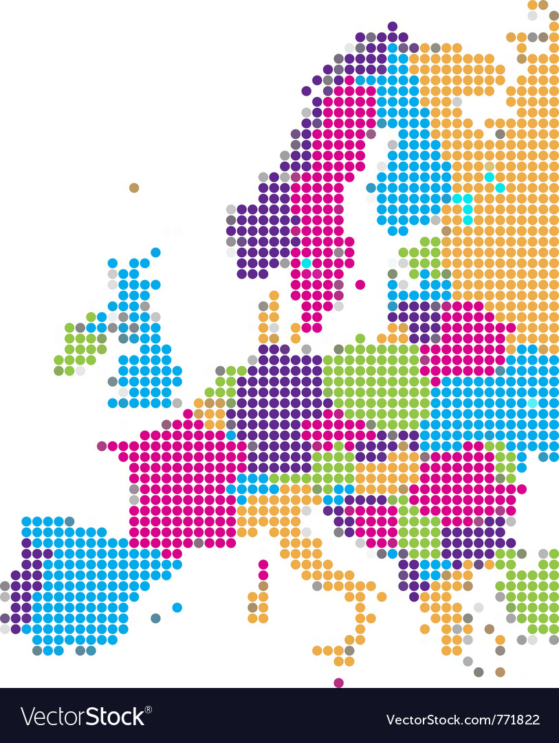 Dot style of europe map vector | Price: 1 Credit (USD $1)