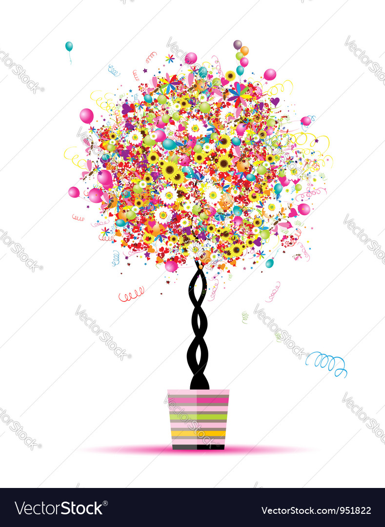 Happy holiday funny tree with balloons in pot for vector | Price: 1 Credit (USD $1)