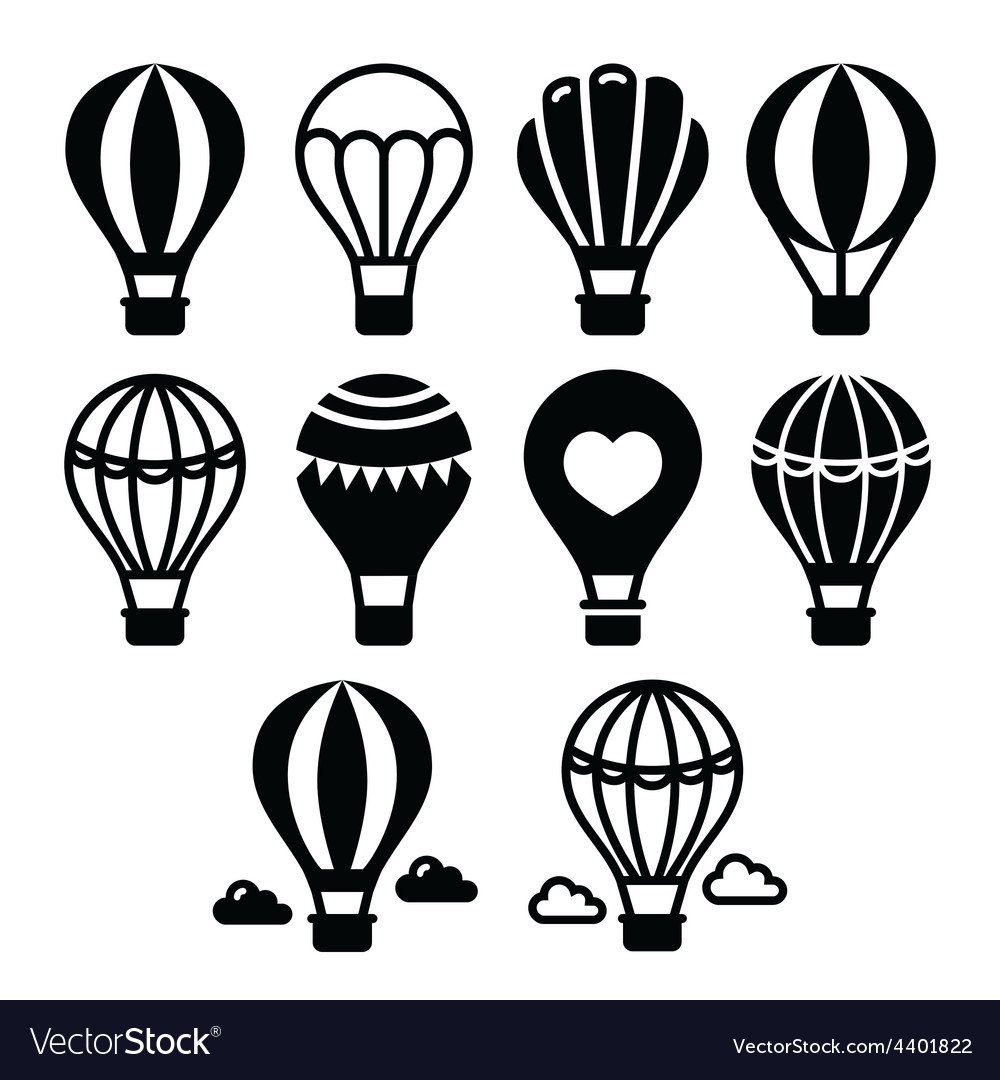 Hot air balloon and clouds icons set vector | Price: 1 Credit (USD $1)