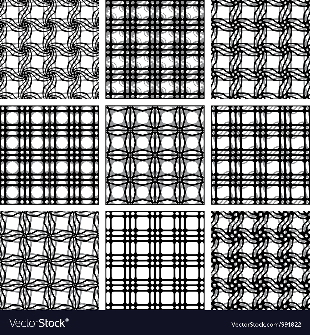 Netting geometric seamless patterns vector | Price: 1 Credit (USD $1)