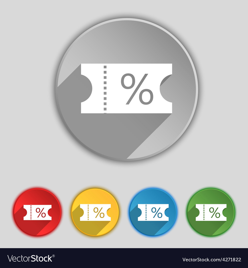 Ticket discount icon sign symbol on five flat vector | Price: 1 Credit (USD $1)