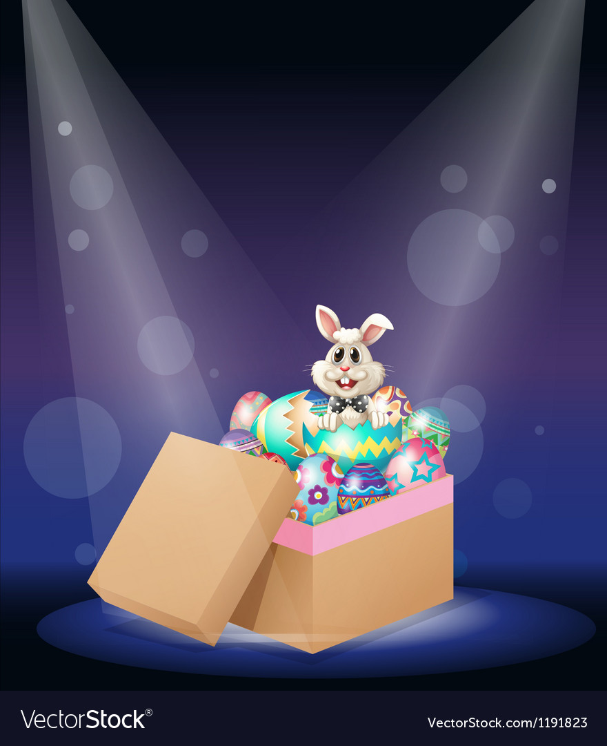 A bunny inside a box full of easter eggs vector | Price: 1 Credit (USD $1)