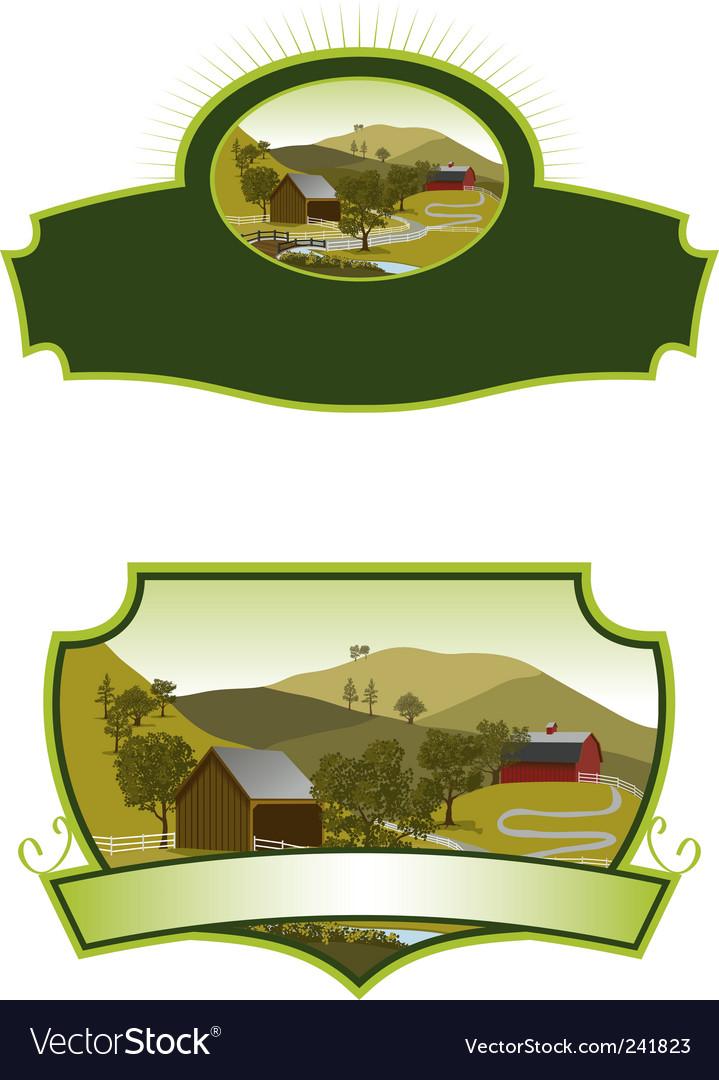 American farm scene labels vector | Price: 1 Credit (USD $1)