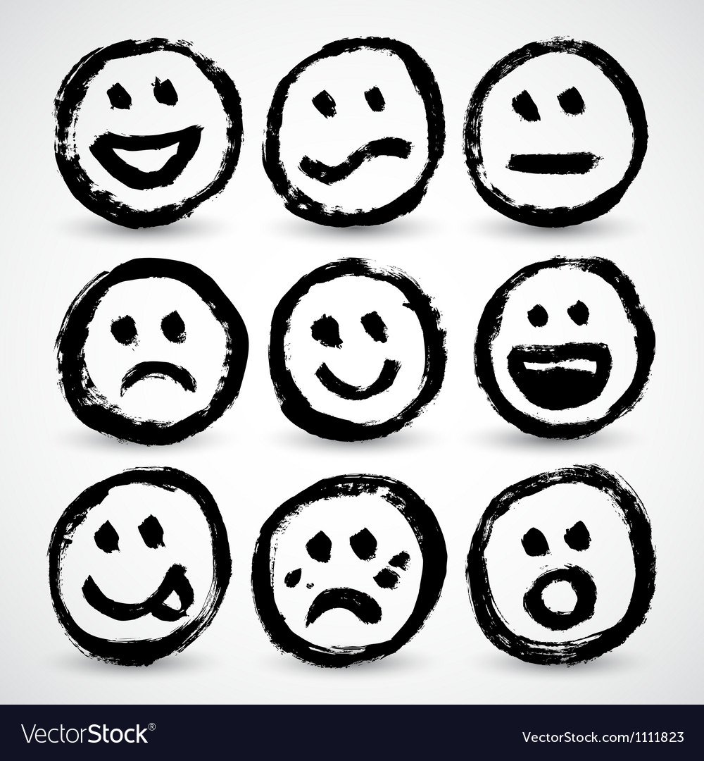 An icon set of grunge cartoon smiley faces vector | Price: 1 Credit (USD $1)