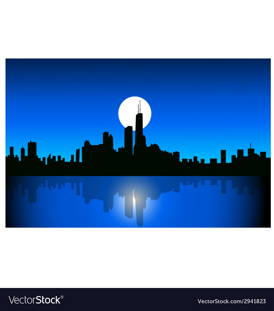 Chicago at night vector | Price: 1 Credit (USD $1)