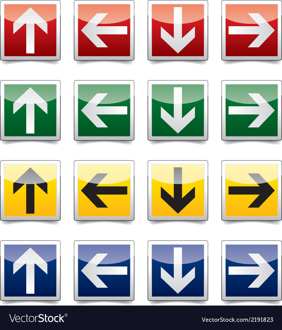 Danger arrow sign set vector | Price: 1 Credit (USD $1)