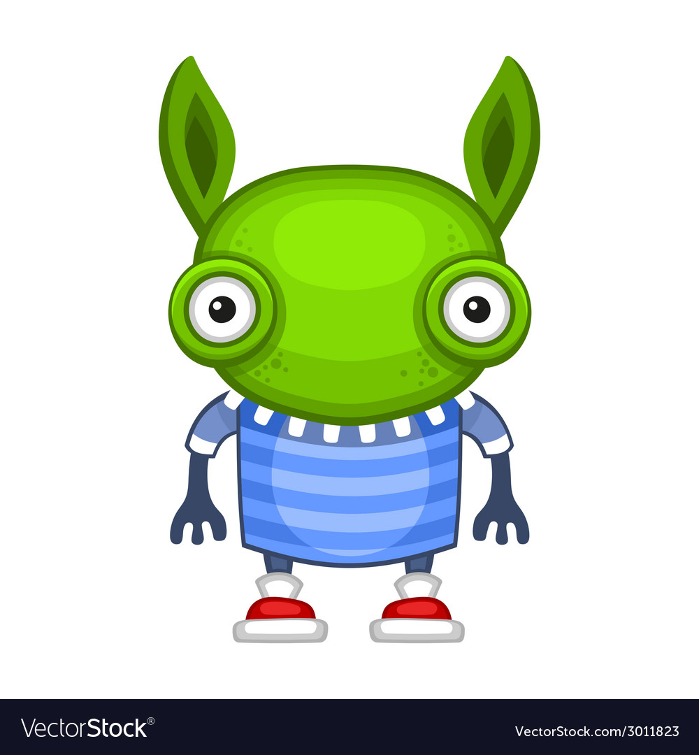 Funny cartoon green alien vector | Price: 1 Credit (USD $1)