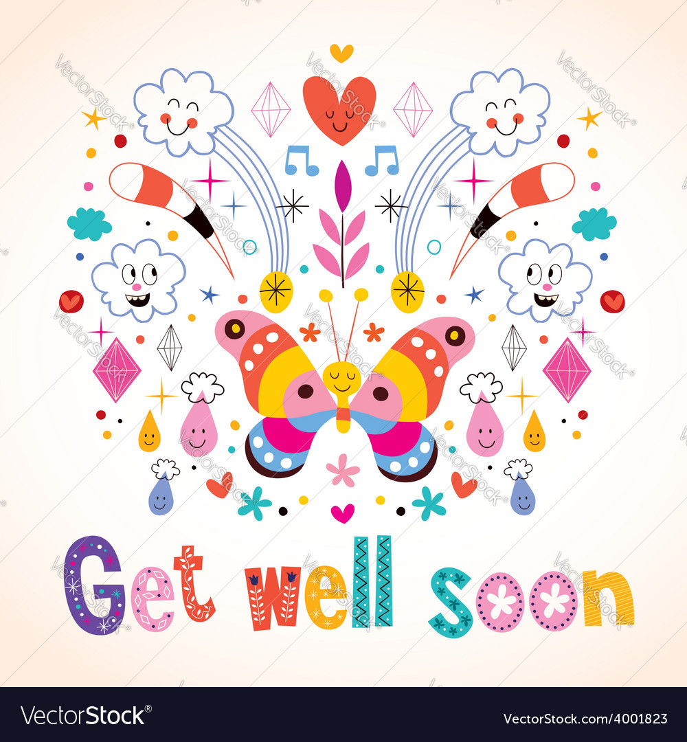 Get well soon greeting card vector | Price: 1 Credit (USD $1)