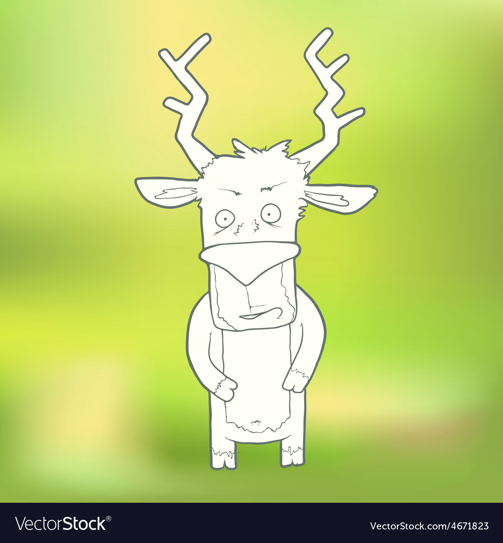Hand-drawn cute deer on vector | Price: 1 Credit (USD $1)