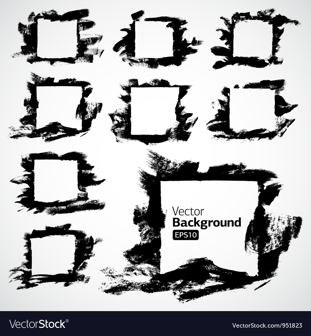 Ink grunge hand drawn frame set vector | Price: 1 Credit (USD $1)
