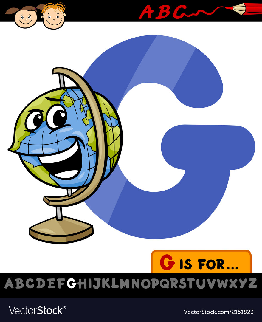 Letter g with globe cartoon vector | Price: 1 Credit (USD $1)