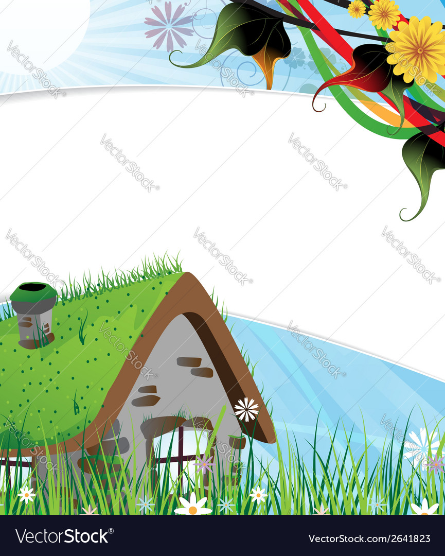 Rural brick house vector | Price: 1 Credit (USD $1)