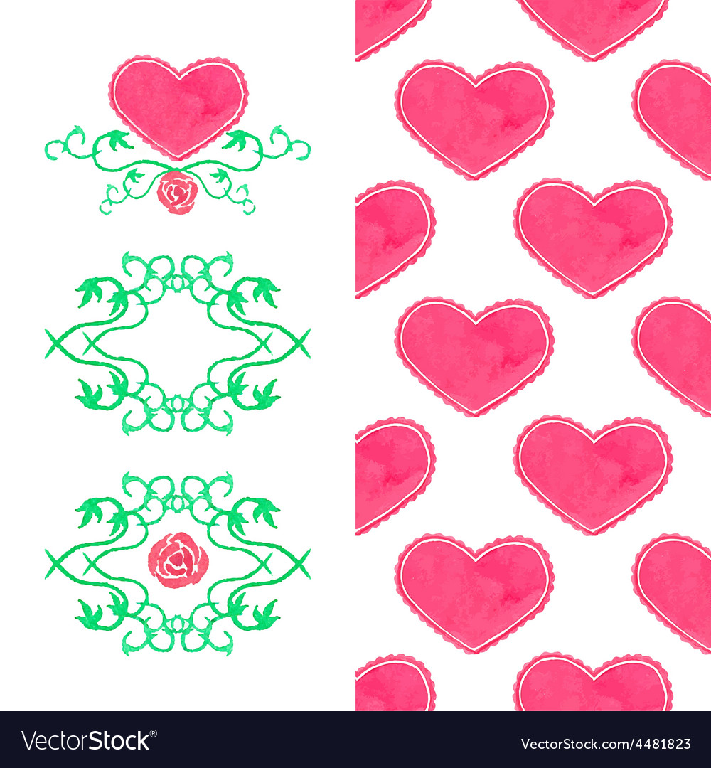 Watercolor set seamless heart pattern and wreaths vector | Price: 1 Credit (USD $1)