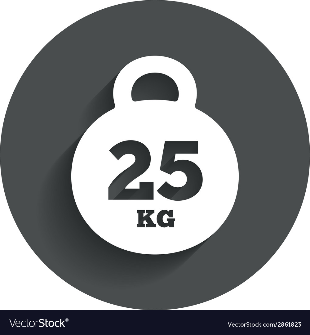 Weight sign icon 25 kilogram kg sport symbol vector | Price: 1 Credit (USD $1)