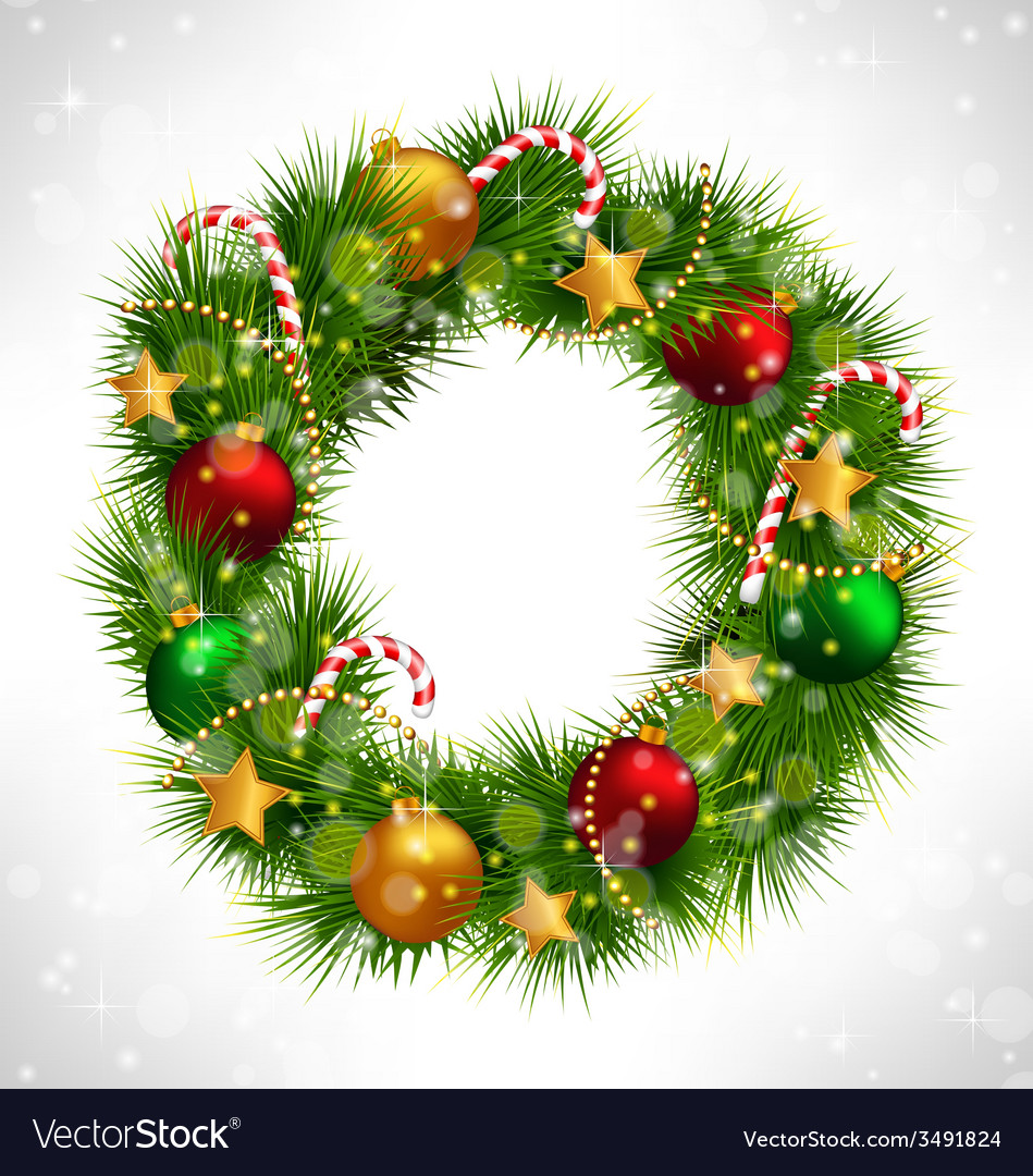 Christmas wreath with adornments on grayscale vector   Price: 1 Credit (USD $1)