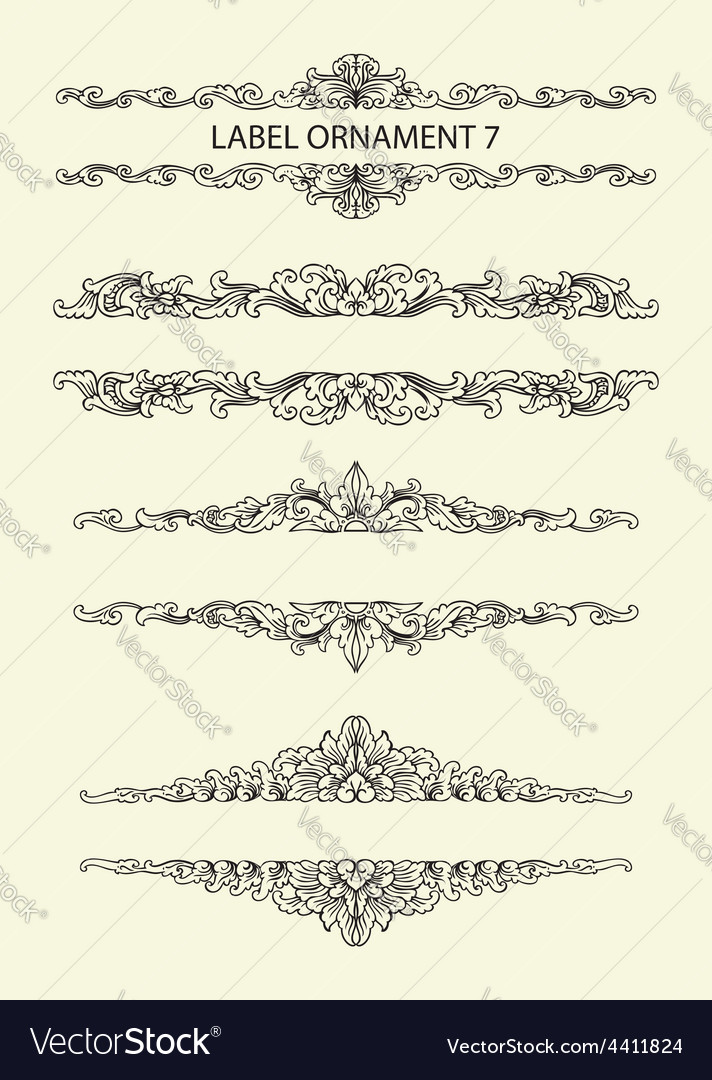 Label ornament 7 vector