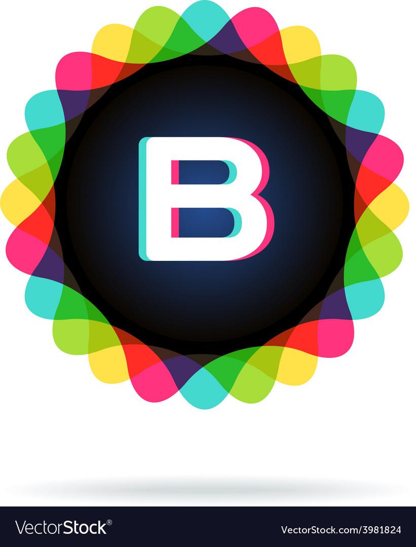 Retro bright colors logotype letter b vector   Price: 1 Credit (USD $1)